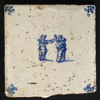 1640s Antique Delft Tile - Tin-glazed Earthenware - Dutch People Comic Scene