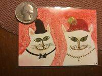 ACEO art fantasy abstract expressionism folk primitive outsider cat funny humor