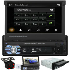"Single 1 DIN 7"" HD Flip Up Car Stereo Radio Touch MP5 Player Mirror Link BT+Cam"