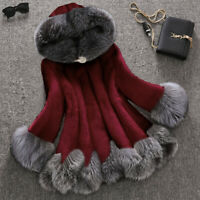 Womens Lady New Faux Mink Fur Jacket Fox Fur Collar Hooded Outwear Parka Warm