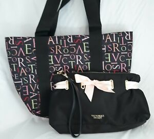 Victoria's Secret - Small Tote Canvas Shoulder Bag and Black Satin Evening Out