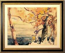 Large Original Watercolor by Henry Pitz NA - Autumn by the Lake