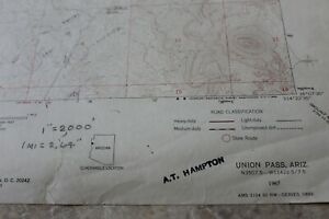 TREASURE MAP. UNION PASS AZ Topo map 1967. Dowsing marked for gold, or silver.