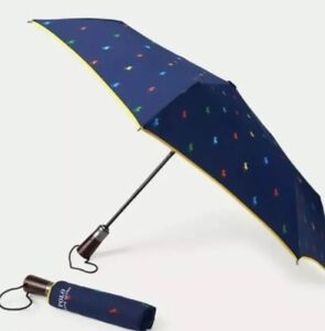 BNWT POLO RALPH LAUREN ALL OVER PONY AUTOMATIC COMPACT UMBRELLA RRP £49.97