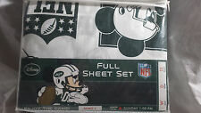 Disney Mickey Mouse NFL  Full Sheet Set NY Jets- Pillow Cases,Fitted Flat Sheets
