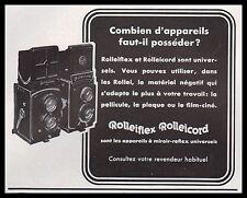 Publicité ROLLEIFLEX Rolleicord appareil photo vintage print ad  1937 - 1i