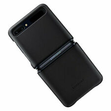 Original Samsung Leather Cover Hülle EF-VF700 für Galaxy Z Flip - Schwarz Black