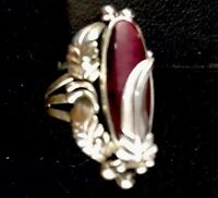 Navajo Design Purple Spiny Oyster  Sterling Silver Ring Sz 6