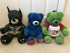 Build A Bear Set of 3 Avengers Hulk & Capt America & Justice League Batman Bears
