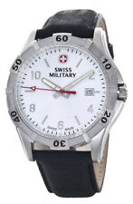 Swiss Military Men's Silver Dial Black Leather Band Watch 0941.00