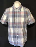 Men's Fat Face Casual Shirt Large Linen Cotton Blend Blue Check Short Sleeve