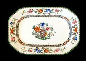 Beautiful Copeland Spode Chinese Rose Green Trim Small Eight Sided Platter