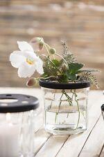 Ib Laursen Glaskrug mit Netzdeckel Blumenvase Blumen Glas Metall
