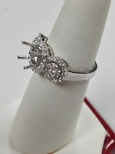 Natural Diamond Halo Semi-Mount Engagement Ring Solid 18kt White Gold