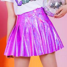 Women PU High waisted Short Skirt  Mori Girl Sweet Lolita laser Pleated skirt