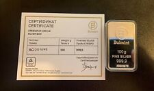More details for 100g silver bullion bar bulmint bar with capsule and coa #2