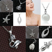 925 Silver Filled Heart Shell Photo Locket Pendant Chain Necklace Jewelry Gift