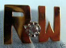 RW Initial Tie Tack Stick Pin 1/10 CT Diamond 14K Gold
