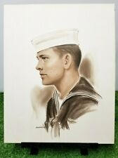Vintage Hand Drawn Charcoal Sketch Navy Young Sailor Cameo - Artist SIGNED 1960