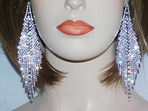 SILVER CLEAR RHINESTONE BRIDAL CHANDELIER PARTY EARRINGS /5376