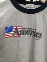 Disney Epcot World Showcase United States Of America Ringer T-Shirt • 2XL