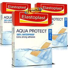 3x Elastoplast Aqua Protect Waterproof Strong Adhesion 20 Strips Wound Plasters