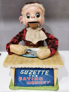 Suzette The Eating Monkey. Japan. Battery Tin Toy. Line Mar. 60s. Working