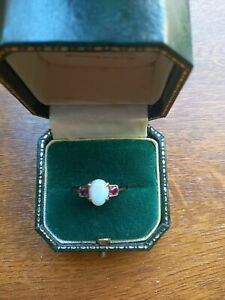 VERY BEAUTIFUL VICTORIAN SIZE Q FIRE OPAL & 2 RUBIES 18ct GOLD LATE 19TH