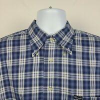 Faconnable Blue Plaid Check Mens Dress Button Shirt Size Large L