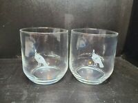 Pair Of Vintage Wild Turkey Bourbon Gold Etched Lowball Glasses