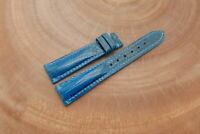 19mm/16mm Light Blue Genuine Lizard Skin Leather Watch Strap Band