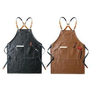 Leather Working Apron Cross Back Adjustable Chef Apron Multi-pocket Sleeveless