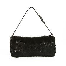 Valentino Garavani Black Lapin Fur Beaded Leather Strap Evening Bag Handbag