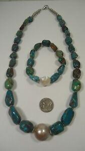 Lee Sands Mabe Pearl w Genuine Turquoise Necklace & Bracelet Set
