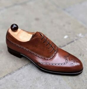 Handmade Men's Wing Tip Brogue Round Toe Lace Up Dress Shoes Real Leather Suede