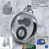 Silver Antique JEEP Sculpture Mens Quartz Pocket Watch Gift Fob Chain Box P168