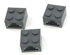 Lego 3 New Dark Bluish Gray Bricks 2 x 2 with Light Bluish Gray Black Minecraft