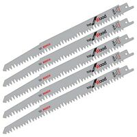 "5 Bosch S1531L Reciprocating Sabre Saw Blades WOOD Cutting Pruning 10"" 240mm"