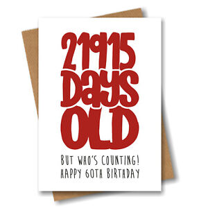 Funny 60th Birthday Card For Him Men Husband Boyfriend Dad Uncle Brother Male
