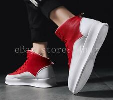 New High Top Mens Sneakers Lace Up Board Running Walking Shoes Trainers Athletic