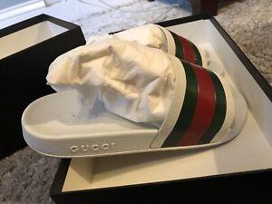 Authentic Gucci Pursuit 72 Slides (Men) Size 42 (US 9) Sandals Flip Flops White