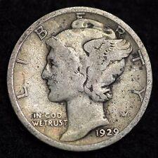 1929-D MERCURY DIME / CIRCULATED GRADE GOOD / VERY GOOD 90% SILVER COIN
