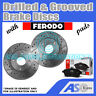 Drilled & Grooved 3 Stud 280mm Solid Brake Discs D_G_2026 with Ferodo Pads