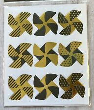 2 Sheets Black Gold Foil Pinwheel Stickers Papercraft Planner Supply DIY Crafts