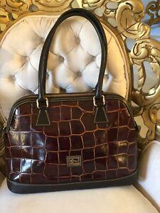 Authentic DOONEY and BOURKE croc leather satchel handbag shoulder bag brown
