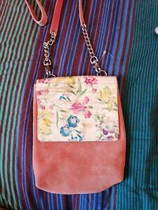 Oriano Leather Suede Shoulder Bag Pink Flowered Floral