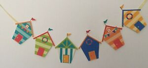 "Beach Hut Style Bunting 6 individual card stock Huts Attached Ribbon 60"""