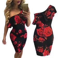 UK Women Bodycon Mini Dress Bardot Off Shoulder Floral Ladies Cocktail Size 6-16