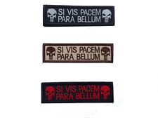 3 PCS SI VIS PACEM PARA BELLUM PUNISHER TAB TACTICAL USA ARMY MORALE HOOK PATCH