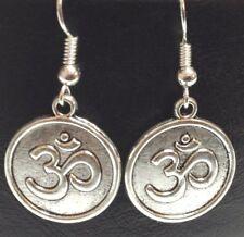 OHM MEDALLION_Charm Earrings_Om Aum Buddhist Yoga Reiki Zen Chakra Symbol Silver